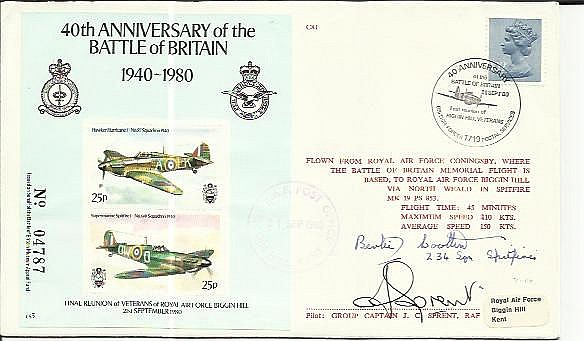 Bertie Wootton 234 Sqn BOB signed 40th ann Battle