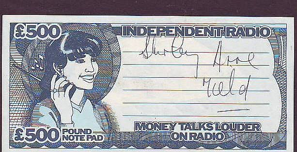 Shirley Anne Field signed Independent Radio note mounted to 12 x 8 card
