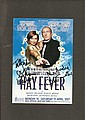 Stephanie Beacham & Christopher Timothy signed colour theatre leaflet for the play Hay Fever, dedicated to Andy