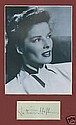 Katharine Hepburn Signed Book Page. Matted Photo