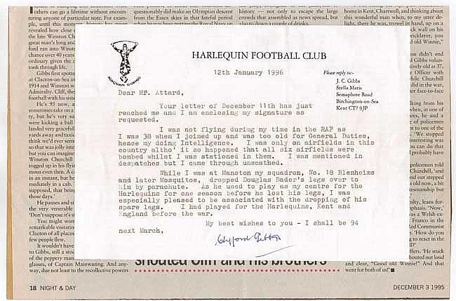 Clifford Gibbs typed signed letter on Harlequins