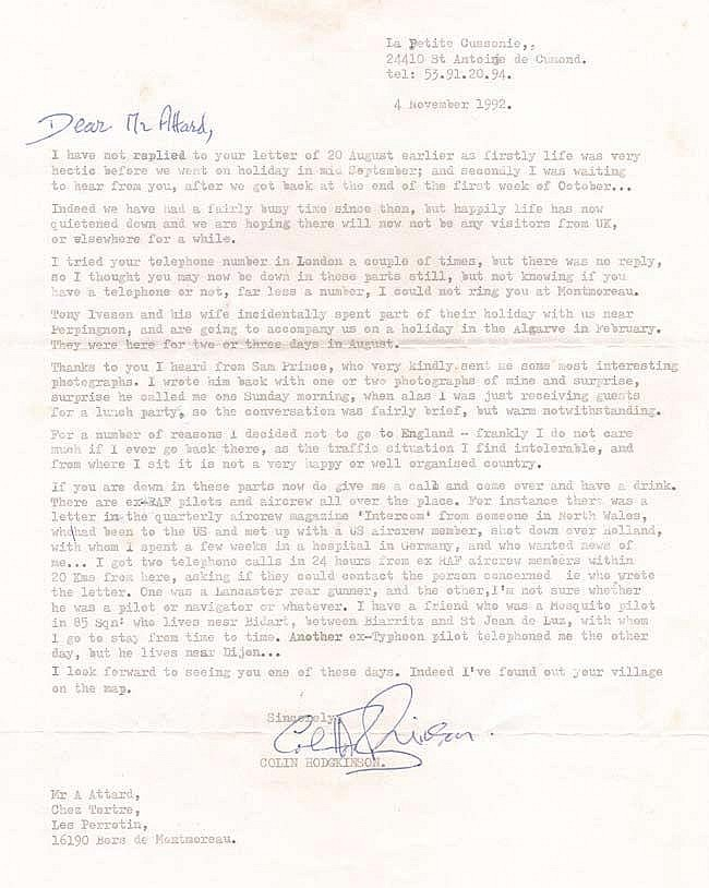 Letter from 'The other Douglas Bader' Flt Lt Colin