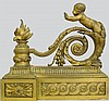 Paire de chenets en bronze doré à décor de «putti» et flammes. Epoque XIXème 35x30 cm