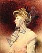 Léon BONNAT (1833-1922) Élégante de profil au