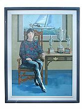 § Terry Bailey (British, 20th Century)  - Portrait of Tracey Edwards, the yachtswoman, with her yacht