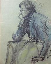 Josette Quesuel (French, 20th Century) - Portrait of a woman - pen, ink and wash