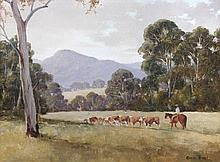 Kevin Best (Australian, 1932-2012) - Mustering cattle, New South Wales - signed lower right