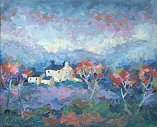 § Muriel Delahaye - Mountain Farm, Dyfed - oil on board