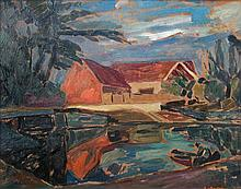 § Wilhelm Lategahn (German, 1882-1955) - Brucke house in a river landscape - signed lower right