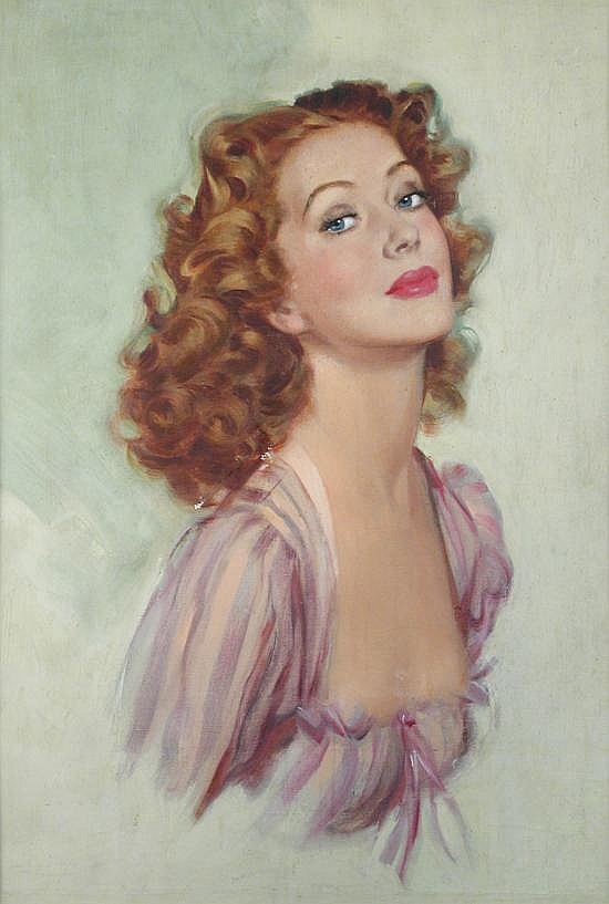 Mervyn Stuart (British, 20th Century) Portrait of Moira Shearer, the actress signed on the reverse