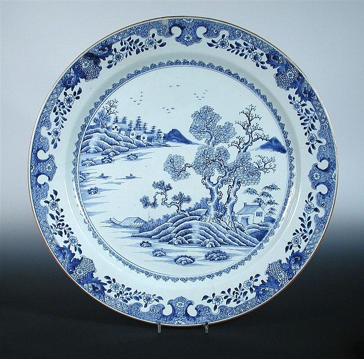 An 18th century Chinese blue and white charger