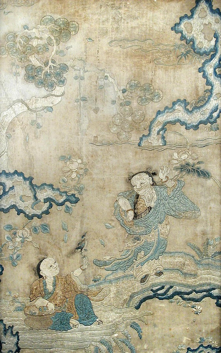 A late 18th/early 19th century silk embroidered panel