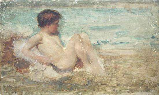 John Macallan Swan (1847-1910)  - Boy on the Sea Shore