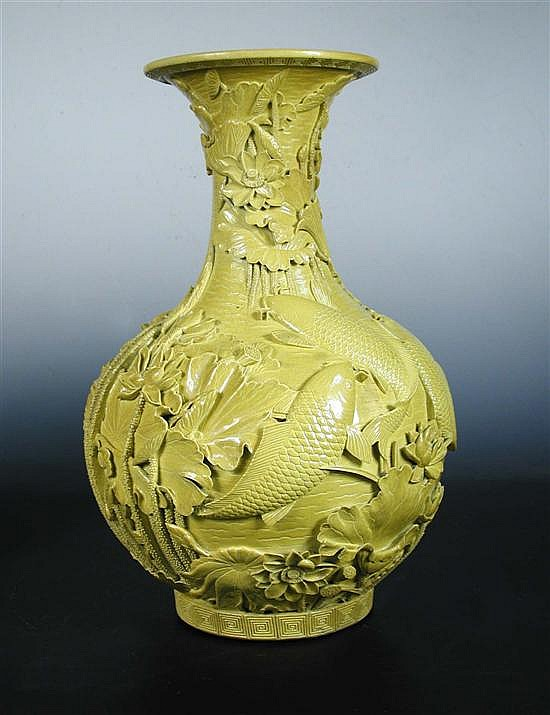A Qianlong style yellow ground vase,