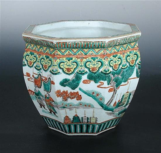 A 19th century famille verte fish bowl,