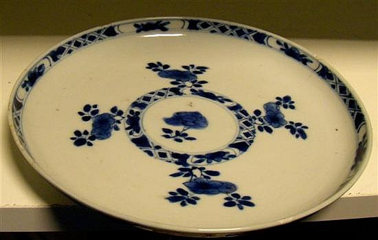 A blue and white plate, period of Kangxi,