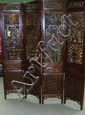 An early 20th century hardwood four fold screen,