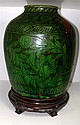 A Middle Eastern green glazed vase, possibly 18th/19th century Kuthaya,