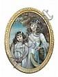 Laura Hope (British, 19th Century) - Portrait of the Misses Phillis and Vera Morgan - pastel