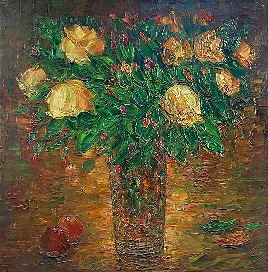 Anatoly Kruchkov (Russian, 20th Century)  - Flowers Still Life  - oil on canvas, 1992, 95 x 95cm