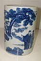 A Kangxi style blue and white brush pot,