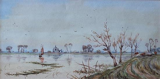 Gilbert Baird Fraser (British, 1866-1947) - A Church on the Great Ouse - watercolour