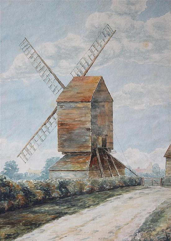 W H Fabb (British, 19th Century) The Smock Windmill, Low Road, Fenstanton signed W H Fabb, 1920, bottom centre