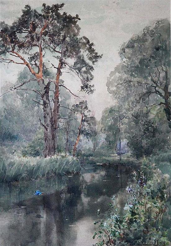 Henry Yeend King (British, 1855-1924)-  River Scene with Trees signed bottom right