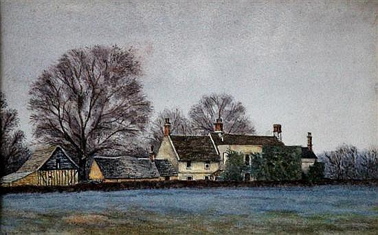 English School (20th Century) - Royal Oak House, Hemingford Abbots, Huntingdonshire  - watercolour