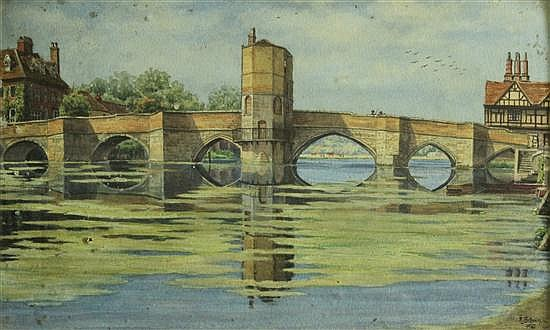 F L Brown (British, 19th-20th Century) St Ives Bridge, Huntingdon