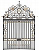 A pair of large wrought iron and gilded garden gates,