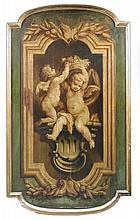 Flemish or French Provincial School (18th Century) -  Putti holding a basket of flowers - oil on panel