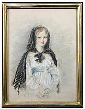 English School (early 19th Century) - Portrait of Lady Augusta Greville -signed, chalks