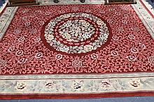 A fine Chinese pure wool floor carpet with floral
