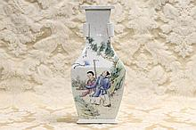 A tall Chinese porcelain vase having figure in