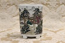 A Chinese porcelain brush pot with landscape