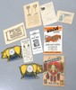 Box lot of early paper items: Morrell's Meat adv., (2) cut-out pig adv., Walsh Harness catalog and more