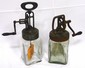 (2) 1 quart glass butter churns: (1) P&L, (1) unmarked