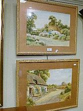 P.Derwin - Pair of early 20th Century watercolours - Rural scenes with thatched cottages, each signed, framed and glazed