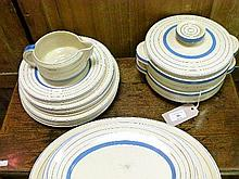 Quantity of Newport Pottery Clarice Cliff design dinnerware having alternate gilt and blue banded decoration against a cream ground