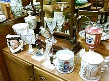 Quantity of Royal commemorative ceramic cups, vases etc together with a Royal Doulton Henry VIII character jug, a Minton Flight Of Fancy exotic bird a