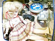 Small quantity of interesting miscellanea including doll, inkwells etc