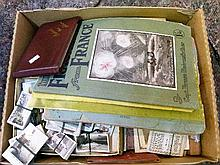 Large quantity of various cigarette cards, paper ephemera and interesting miscellanea including; a fives ball, wooden box in the form of a book, puzzl