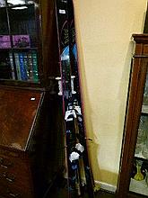 Pair of late 20th Century skis and five ski poles
