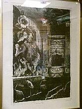 Peter Bauer - Artist's proof etching 'Theatre Royal', signed and dated in pencil '88