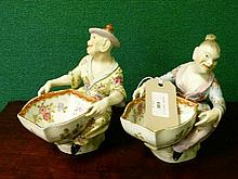Pair of late 19th Century Carl Thieme Potschappel Dresden porcelain figural salts, each modelled in the Meissen style as an Oriental lady and gentlema