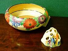 Clarice Cliff bowl decorated with the Gay Day pattern together with a posy holder decorated with the Crocus pattern