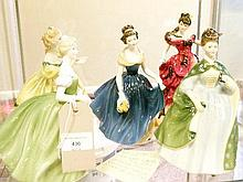 Five Royal Doulton figures - Belle HN.3703, The Last Waltz HN.2315, Melanie HN.2271, Premiere HN.2343 and Clarissa HN.2345