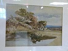Late 19th/early 20th Century watercolour depicting a pond surrounded by trees with London in the distance, titled 'Childs Hill', unsigned, framed and