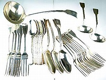 19th/early 20th Century assembled part canteen of silver Fiddle pattern cutlery comprising: soup ladle, six tablespoons, nine dessert spoons, nine des